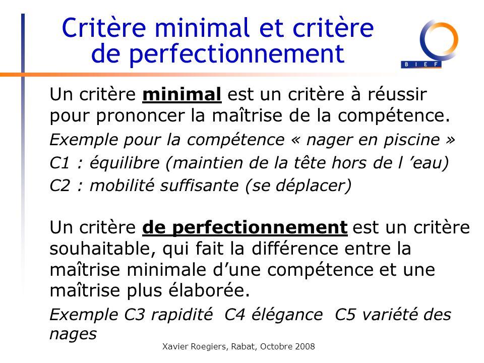 Critère minimal et critère de perfectionnement
