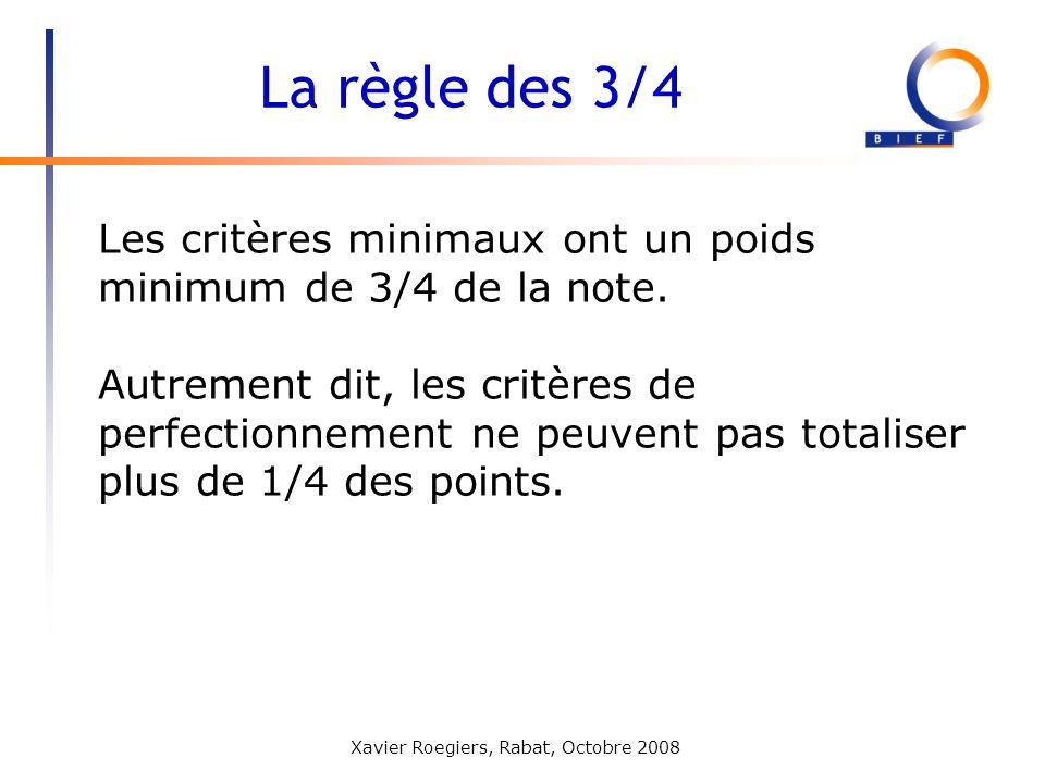 La règle des 3/4 Les critères minimaux ont un poids minimum de 3/4 de la note.