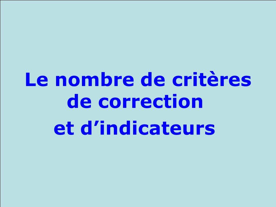 Le nombre de critères de correction et d'indicateurs