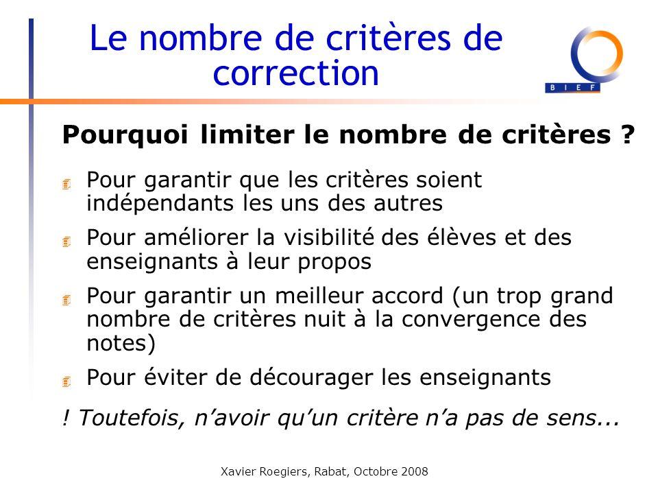 Le nombre de critères de correction
