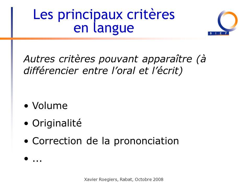 Les principaux critères en langue