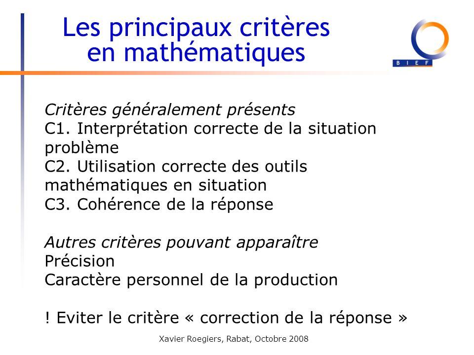 Les principaux critères en mathématiques