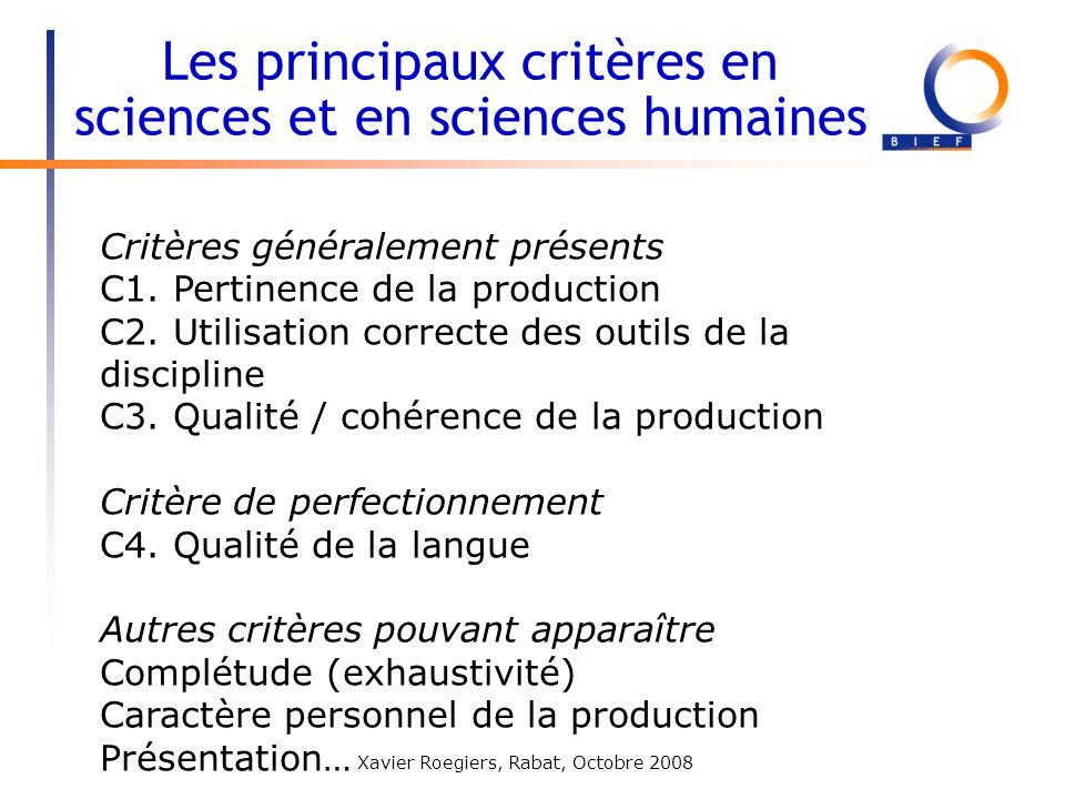 Les principaux critères en sciences et en sciences humaines