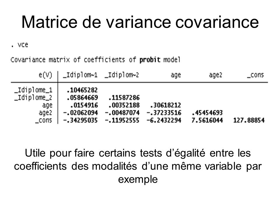 Matrice de variance covariance