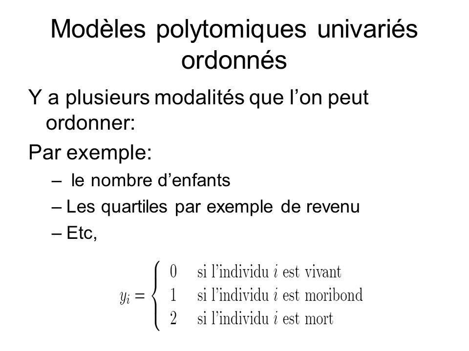 Modèles polytomiques univariés ordonnés