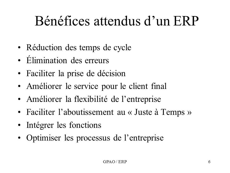 Bénéfices attendus d'un ERP