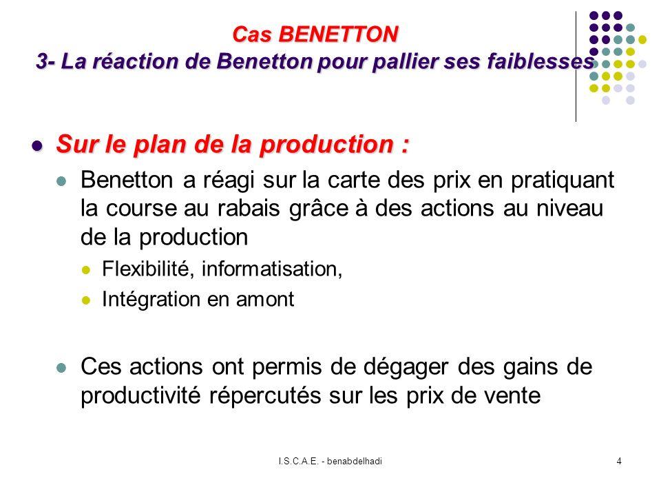 Cas BENETTON 3- La réaction de Benetton pour pallier ses faiblesses