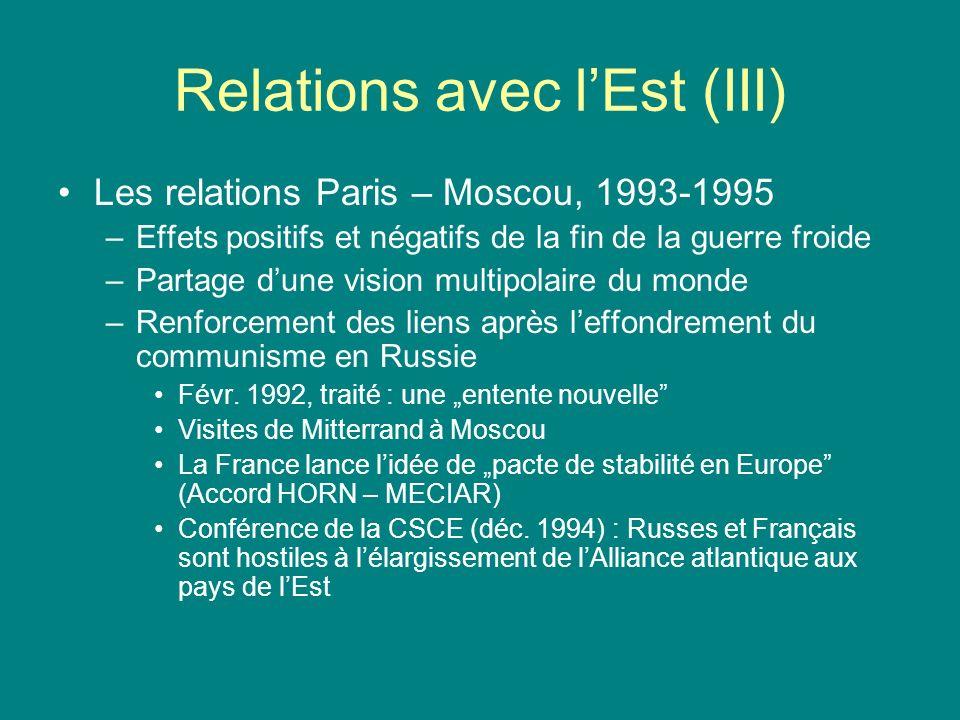 Relations avec l'Est (III)