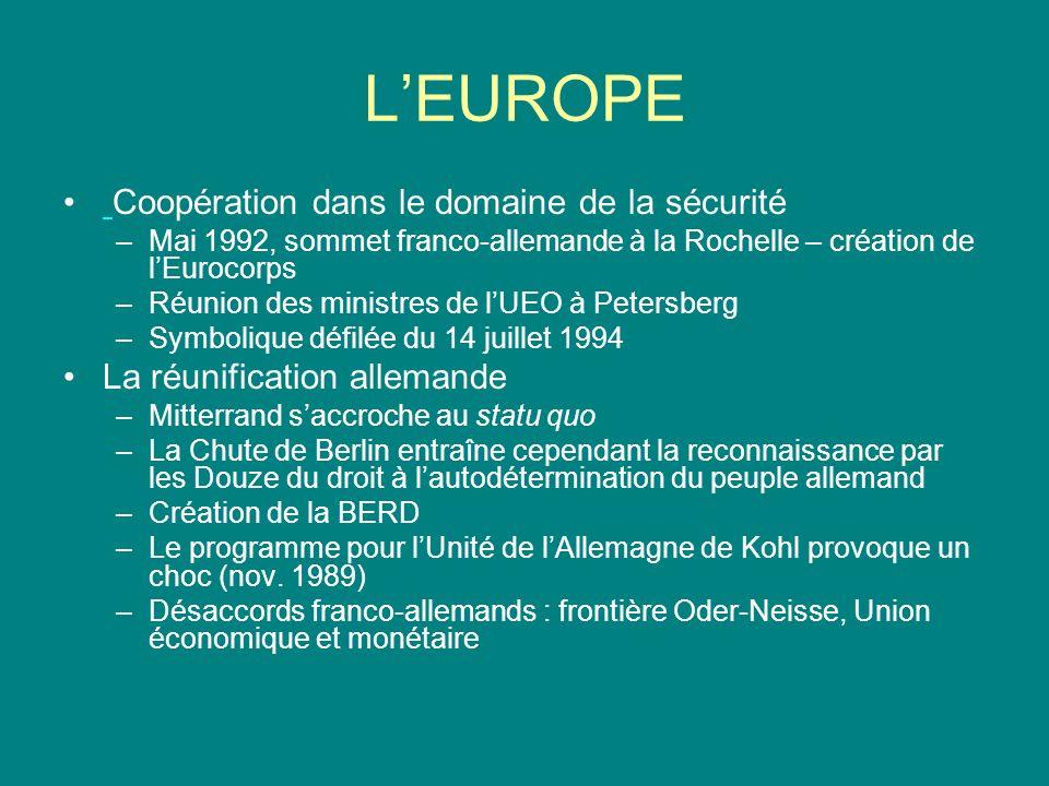 L'EUROPE Coopération dans le domaine de la sécurité
