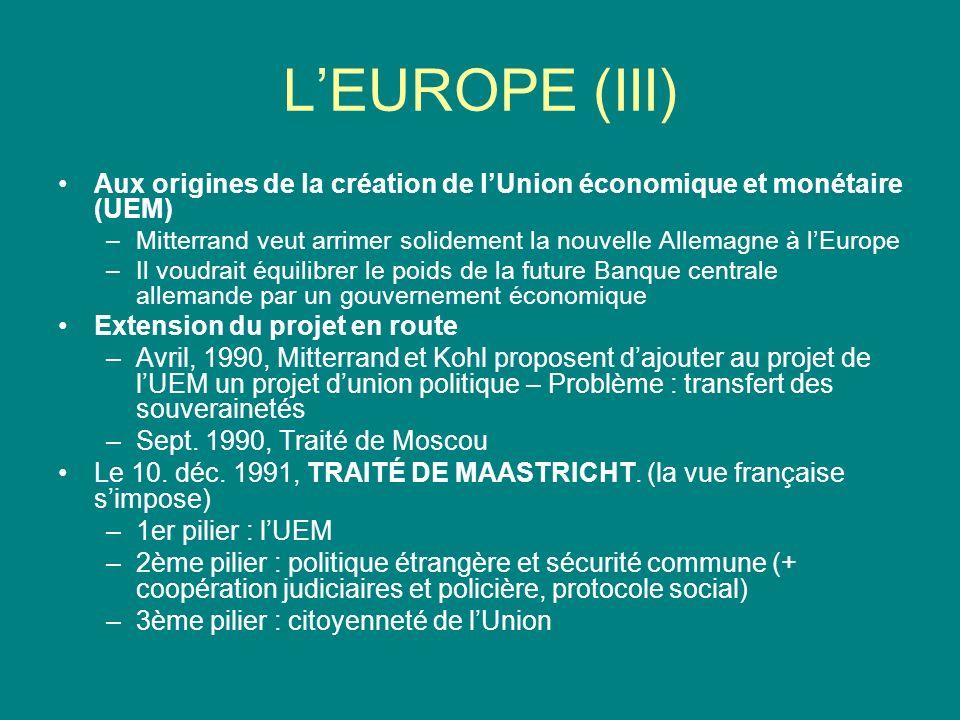 L'EUROPE (III) Aux origines de la création de l'Union économique et monétaire (UEM)