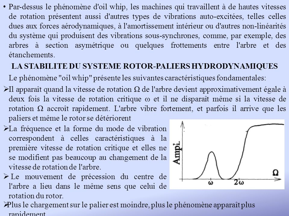 LA STABILITE DU SYSTEME ROTOR-PALIERS HYDRODYNAMIQUES