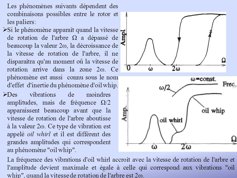 Les phénomènes suivants dépendent des combinaisons possibles entre le rotor et les paliers: