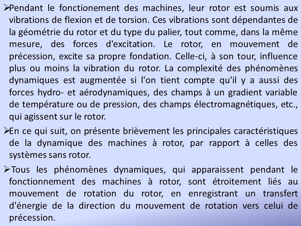 Pendant le fonctionement des machines, leur rotor est soumis aux vibrations de flexion et de torsion. Ces vibrations sont dépendantes de la géométrie du rotor et du type du palier, tout comme, dans la même mesure, des forces d excitation. Le rotor, en mouvement de précession, excite sa propre fondation. Celle-ci, à son tour, influence plus ou moins la vibration du rotor. La complexité des phénomènes dynamiques est augmentée si l on tient compte qu il y a aussi des forces hydro- et aérodynamiques, des champs à un gradient variable de température ou de pression, des champs électromagnétiques, etc., qui agissent sur le rotor.