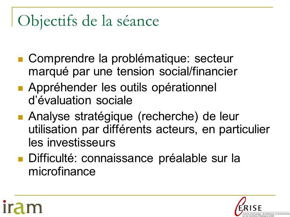 Objectifs de la séance Comprendre la problématique: secteur marqué par une tension social/financier.