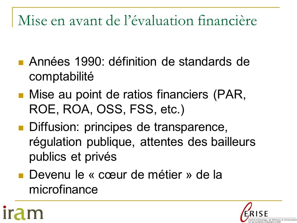 Mise en avant de l'évaluation financière