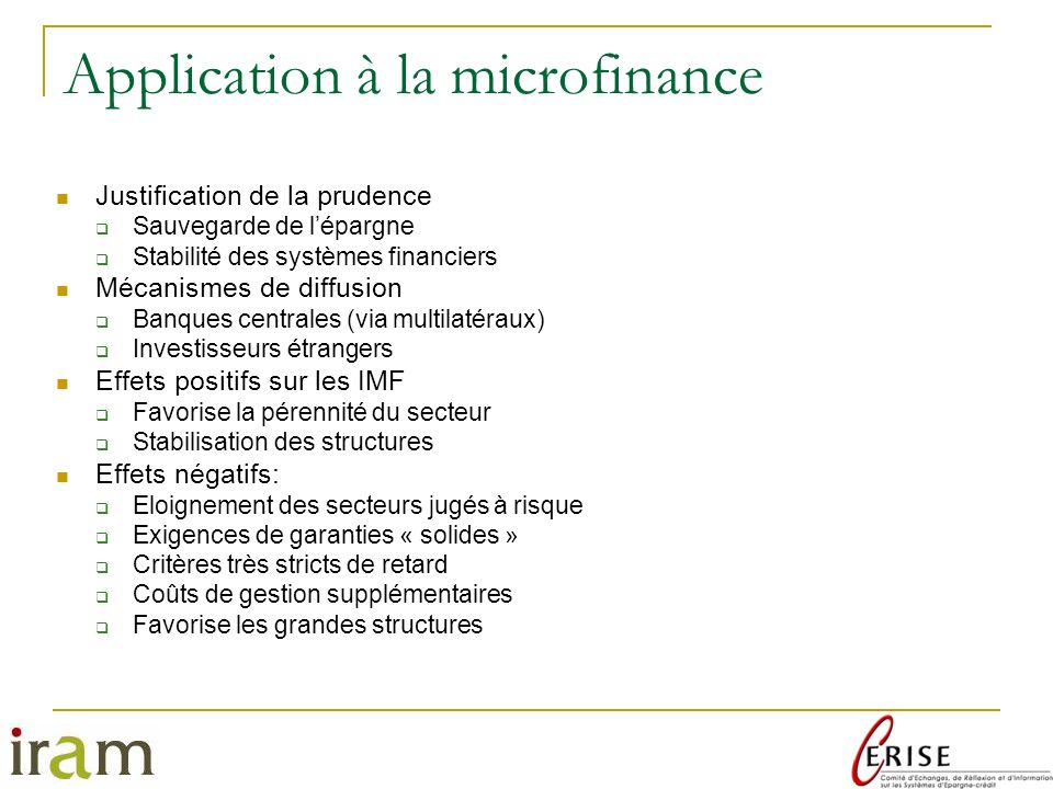 Application à la microfinance