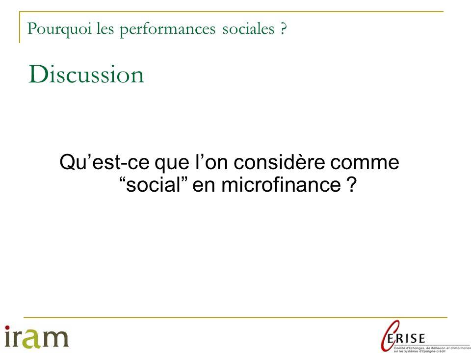 Qu'est-ce que l'on considère comme social en microfinance