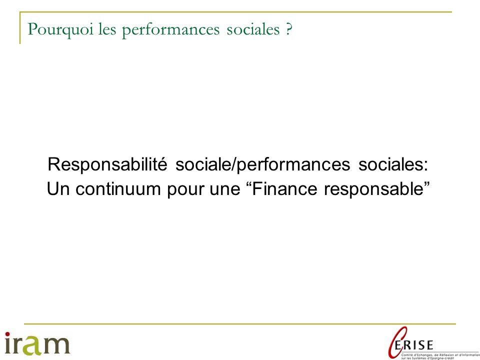 Pourquoi les performances sociales