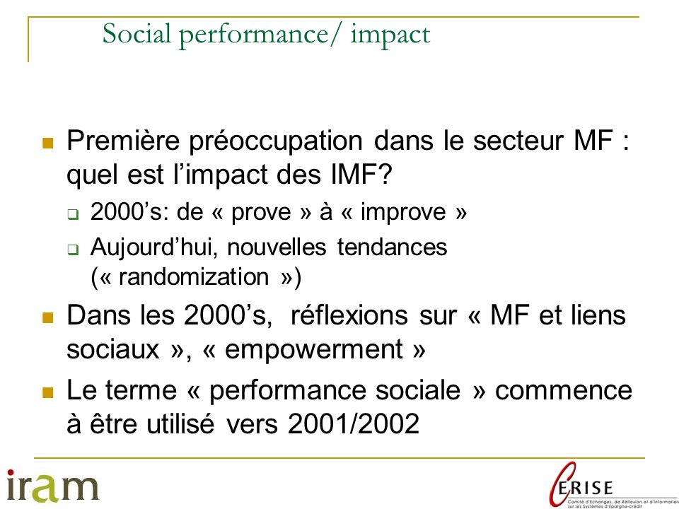 Social performance/ impact