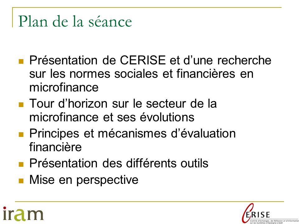 Plan de la séance Présentation de CERISE et d'une recherche sur les normes sociales et financières en microfinance.