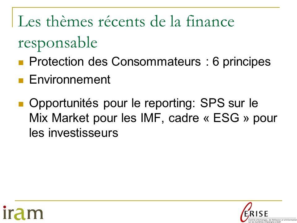 Les thèmes récents de la finance responsable