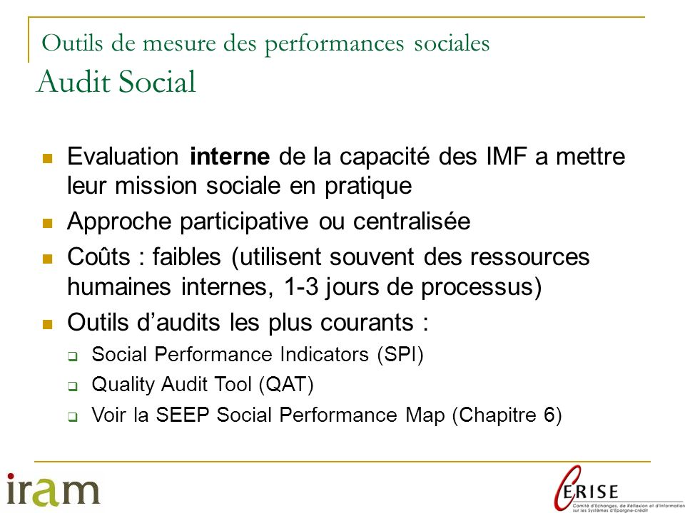 Audit Social Outils de mesure des performances sociales