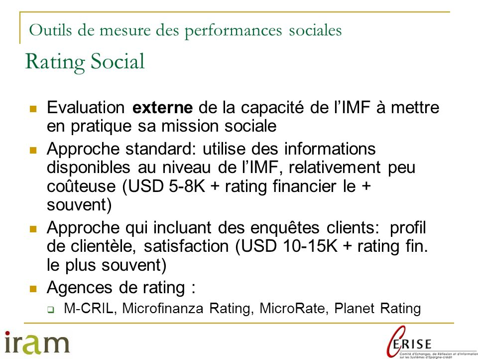 Rating Social Outils de mesure des performances sociales
