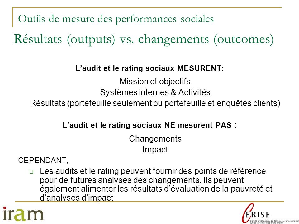Résultats (outputs) vs. changements (outcomes)