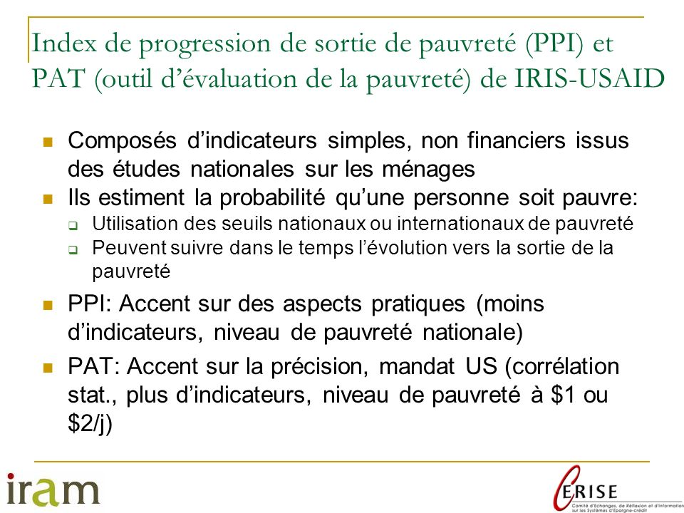 Index de progression de sortie de pauvreté (PPI) et PAT (outil d'évaluation de la pauvreté) de IRIS-USAID