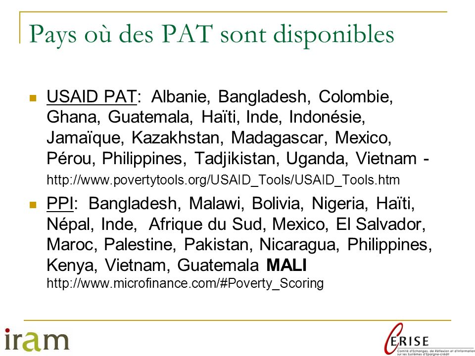 Pays où des PAT sont disponibles