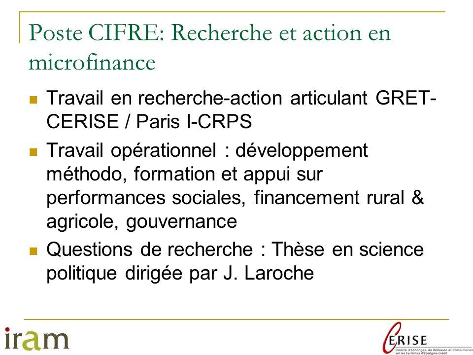 Poste CIFRE: Recherche et action en microfinance