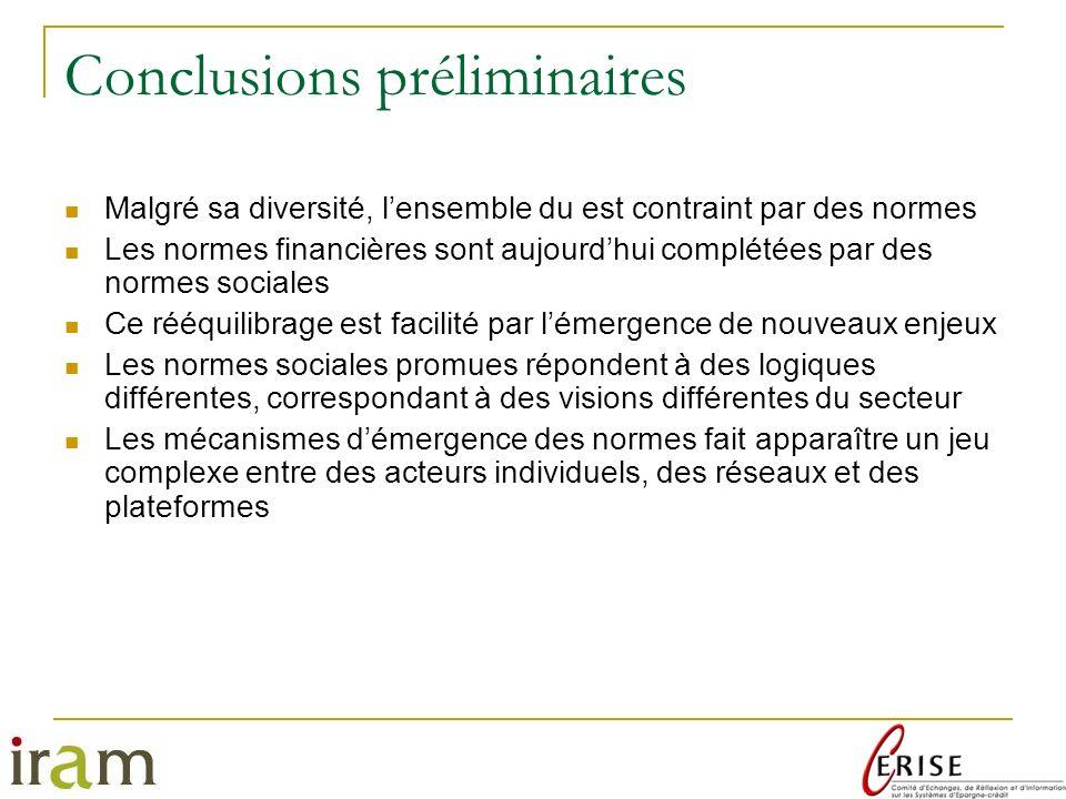 Conclusions préliminaires