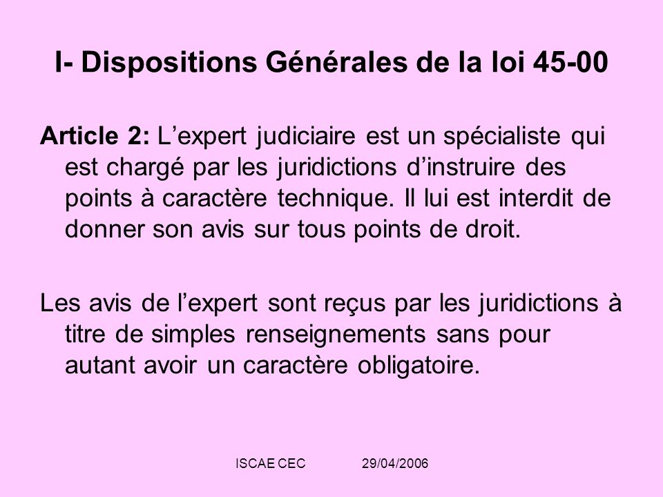 I- Dispositions Générales de la loi 45-00