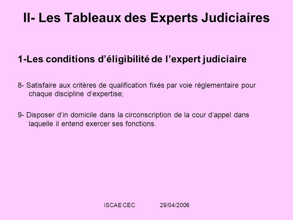 II- Les Tableaux des Experts Judiciaires
