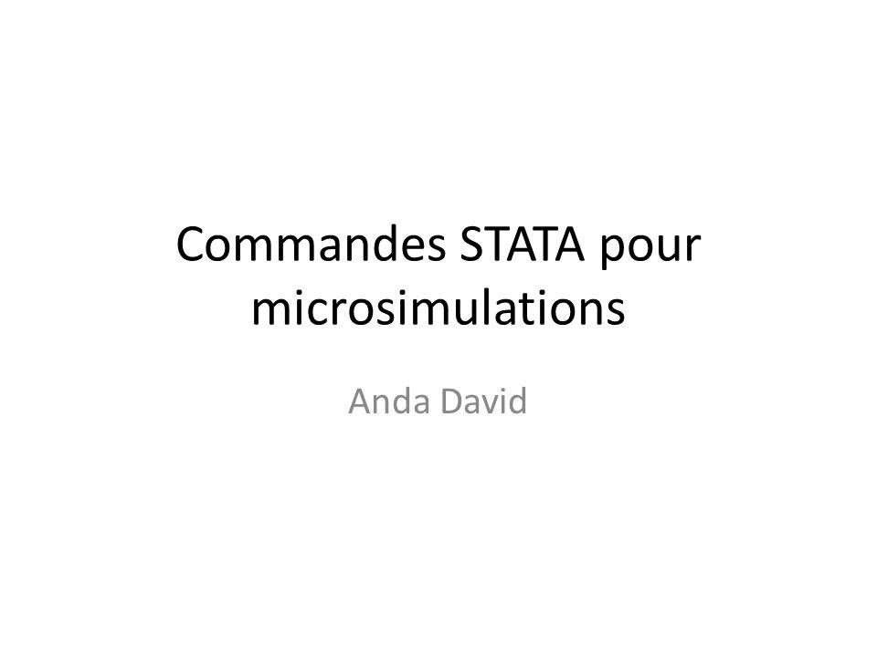 Commandes STATA pour microsimulations