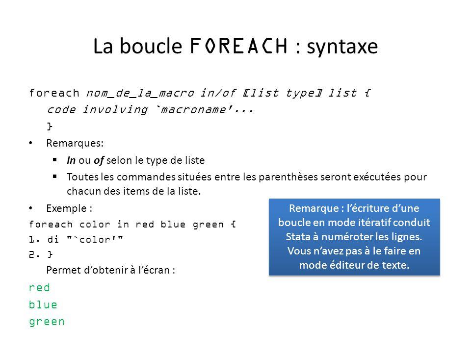 La boucle FOREACH : syntaxe