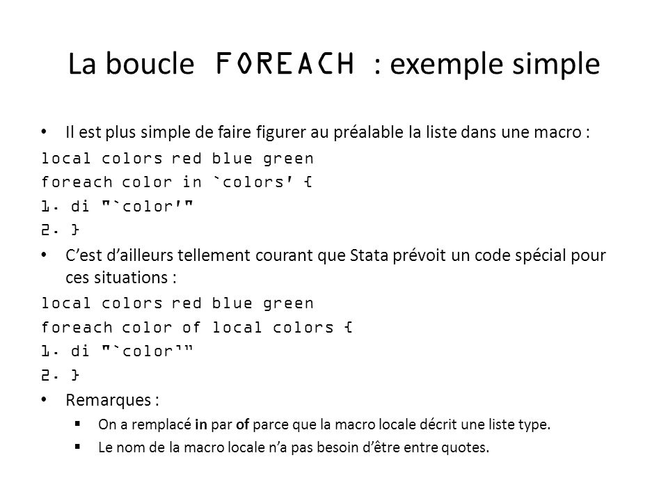La boucle FOREACH : exemple simple