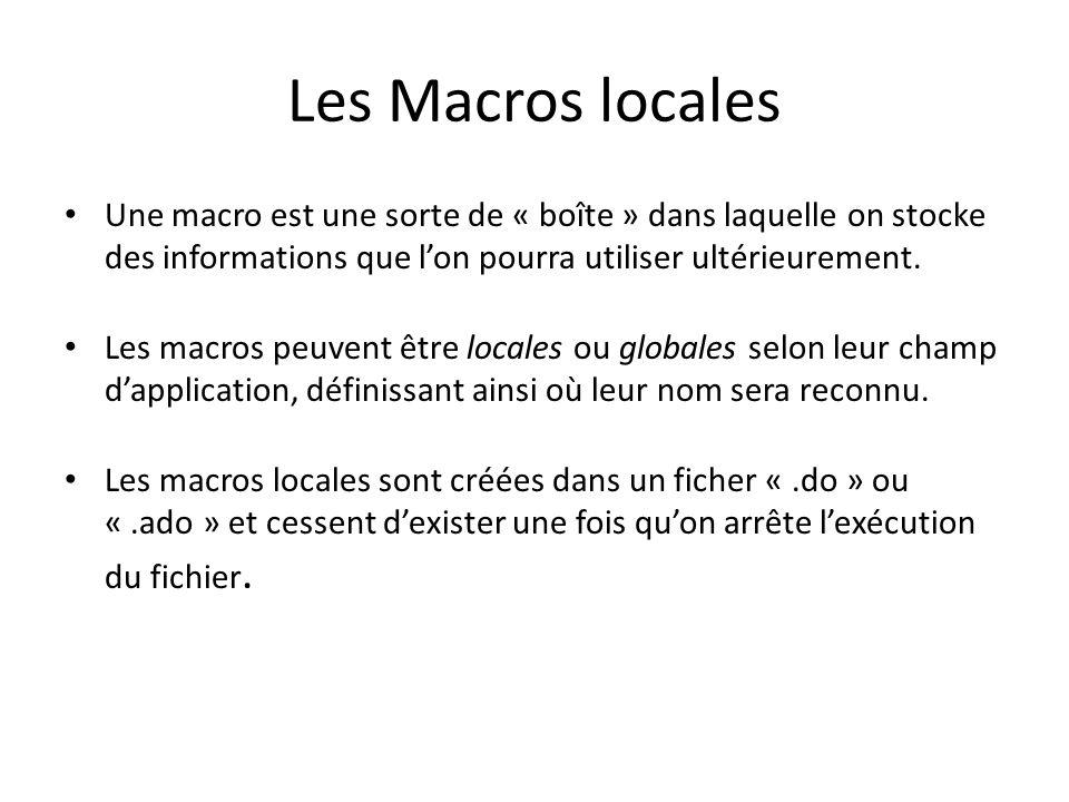 Les Macros locales Une macro est une sorte de « boîte » dans laquelle on stocke des informations que l'on pourra utiliser ultérieurement.