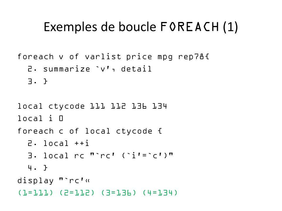 Exemples de boucle FOREACH (1)