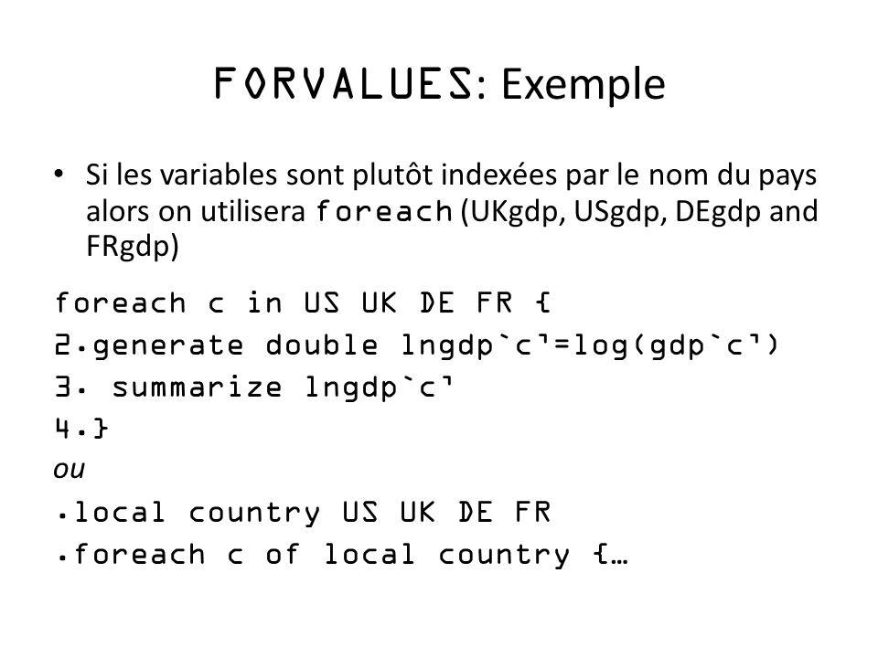 FORVALUES: Exemple Si les variables sont plutôt indexées par le nom du pays alors on utilisera foreach (UKgdp, USgdp, DEgdp and FRgdp)