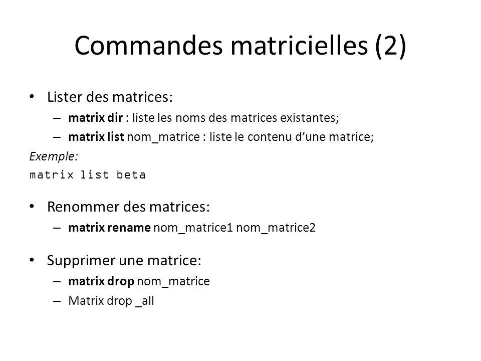 Commandes matricielles (2)