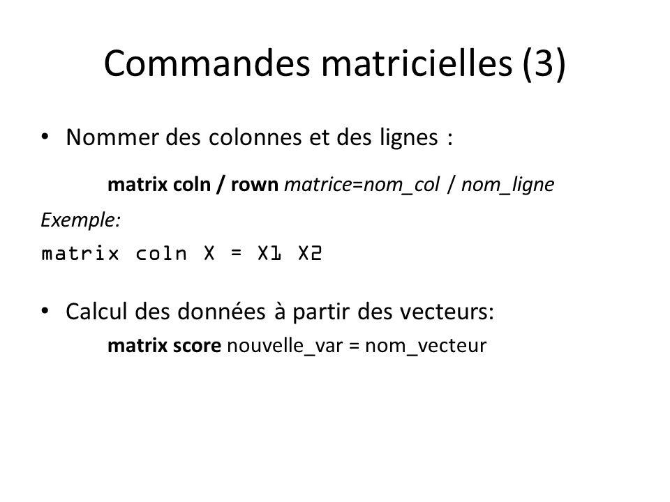 Commandes matricielles (3)