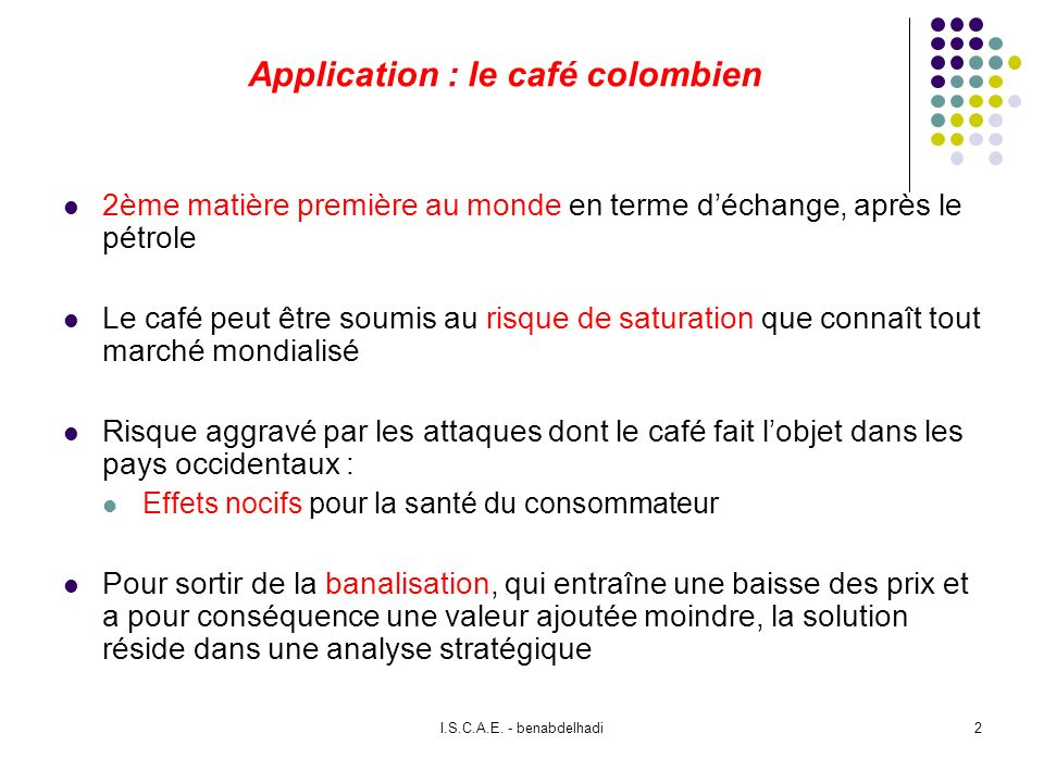 Application : le café colombien