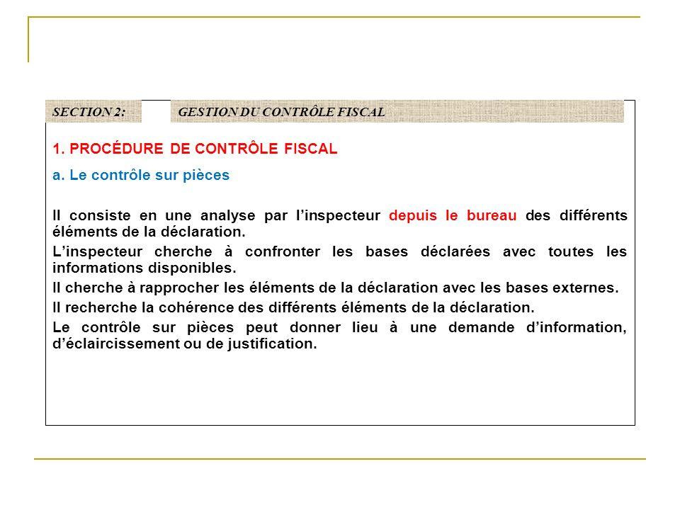 1. PROCÉDURE DE CONTRÔLE FISCAL a. Le contrôle sur pièces