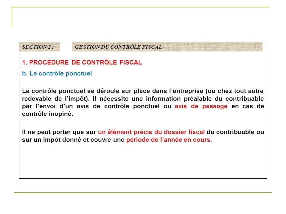 1. PROCÉDURE DE CONTRÔLE FISCAL b. Le contrôle ponctuel