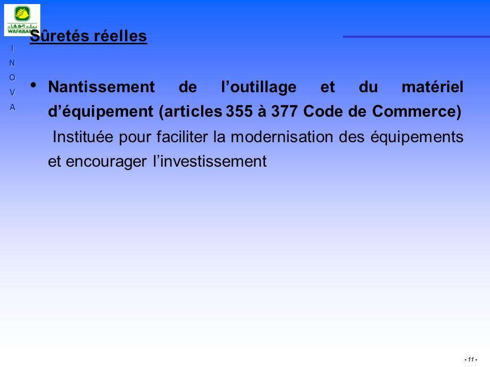 Sûretés réelles Nantissement de l'outillage et du matériel d'équipement (articles 355 à 377 Code de Commerce)