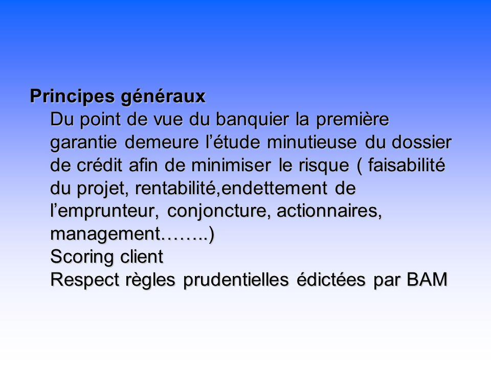 Principes généraux Du point de vue du banquier la première garantie demeure l'étude minutieuse du dossier de crédit afin de minimiser le risque ( faisabilité du projet, rentabilité,endettement de l'emprunteur, conjoncture, actionnaires, management……..) Scoring client Respect règles prudentielles édictées par BAM