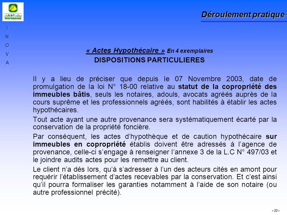« Actes Hypothécaire » En 4 exemplaires