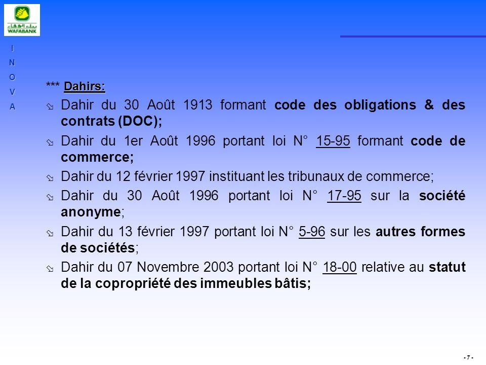 Dahir du 1er Août 1996 portant loi N° 15-95 formant code de commerce;