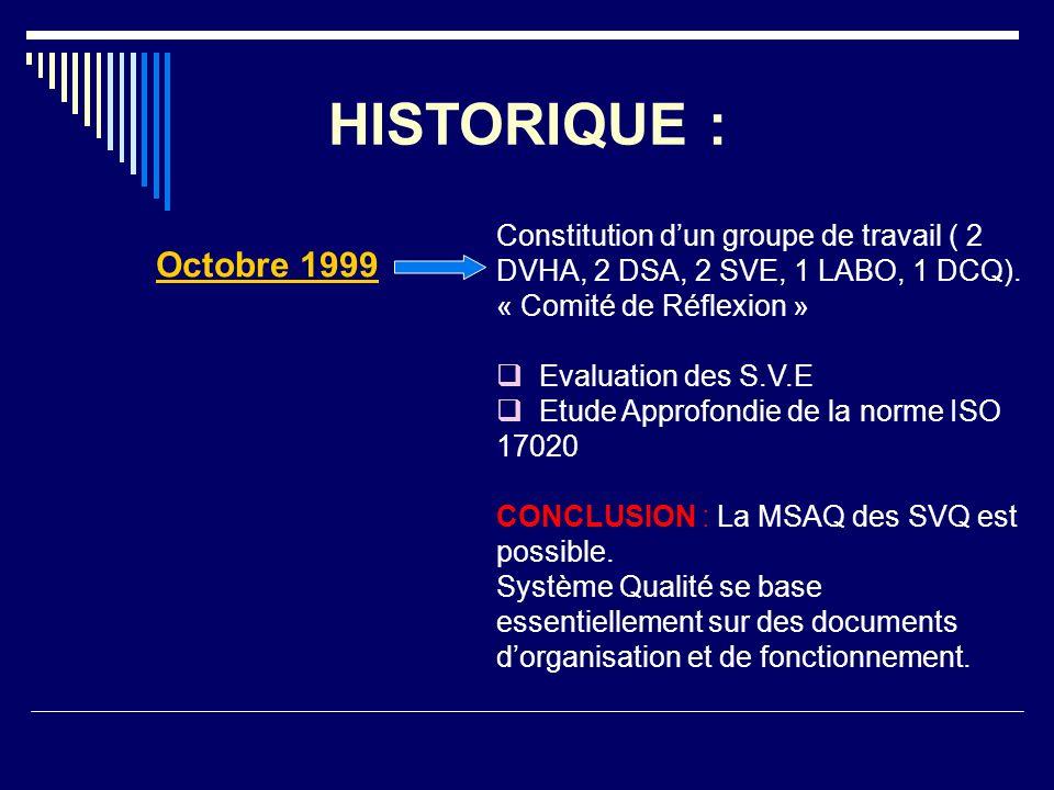 HISTORIQUE :Constitution d'un groupe de travail ( 2 DVHA, 2 DSA, 2 SVE, 1 LABO, 1 DCQ). « Comité de Réflexion »